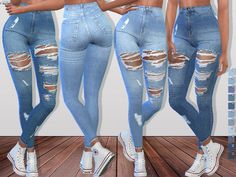 The Sims 4 Denim Ripped Jeans 093 Outfit Jeans, Superenge Jeans, Cute Ripped Jeans, Womens Ripped Jeans, Cropped Jeans, Mods Sims 4, Sims 4 Game Mods, Sims 3, The Sims 4 Kids