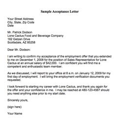 sample professional letter formats job pinterest acceptance