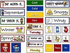 Calendar - Months, Weather, Days of the Week, Graphing, Calendar #'s, etc - FREE!
