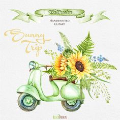 Watercolor Retro Moped with Floral Bouquet of Sunflowers. Wedding invitation, digital yellow flowers, separate elements, greeting, DIY