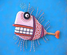 Smiling Redfish Original Found Object Wall от FigJamStudio на Etsy