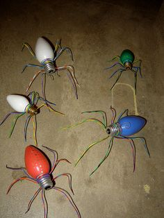 Neat craft for old bulbs!- I want to make these and give them away at Christmas with the story the legend of the spider