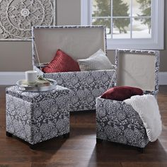 Declutter your home with the very stylish Pewter Suzani Storage Trunk and Ottomans. This set of three is on sale for only $150!