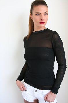 cd9852ea423c Black long sleeve mesh top + black tube top size M
