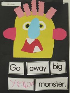 Ordering words to make a sentence Big Book Idea-go away big green monster.a very cute idea for the beginning of the year.especially to go with my monster theme! Kindergarten Colors, Kindergarten Writing, Classroom Crafts, Kindergarten Literacy, Classroom Ideas, Monster Activities, Halloween Activities, Book Activities, Preschool Halloween