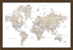 Fifi watercolor world map with cities canvas print canvas art world framed print featuring the digital art neutrals world map with cities by rosana blursbyai gumiabroncs Choice Image