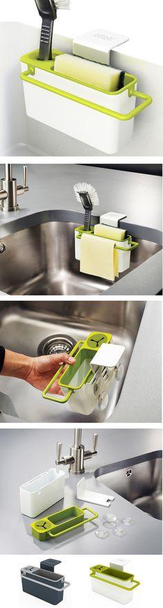 Výborný pomocník pro případ, kdy kolem dřezu nemáte dost místa na umístění stojánku s mycími prostředky. Umísťuje se pomocí přísavek přímo na vnitřní stranu dřezu.
