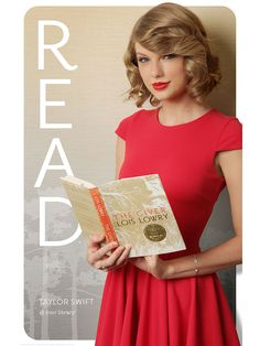 Taylor Swift has joined the American Library Association's new READ campaign. She is reading The Giver on a new campaign poster. Taylor Swift New, Swift 3, Taylor Taylor, Celebrities Reading, Lois Lowry, American Library Association, Ethel Kennedy, Look Dark, The Giver