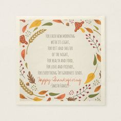 Thanksgiving Poem. Happy Thanksgiving. Custom. Paper Napkins   Zazzle.com