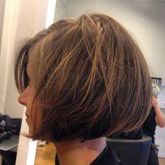 tousled rounded brunette bob