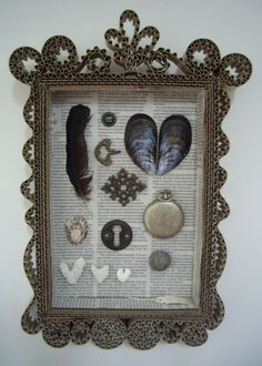 home made cardboard frame & collection