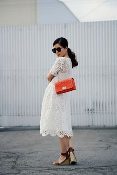 HallieDaily: {Valentino Love} Lace Dress and Wedge Sandals
