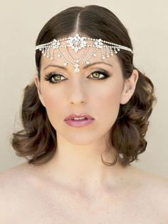 Indian Inspired Rhinestone Bridal Forehead Headpiece Aruna Hair Accessories By Comes The Bride