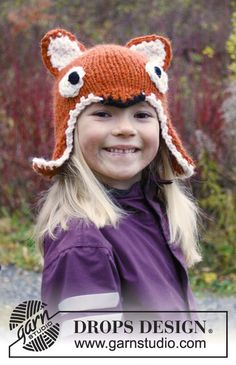 """Fawn / DROPS Extra 0-981 - Knitted DROPS fox hat with ear flaps and crochet edge in """"Andes"""". Size: 3-12 years"""