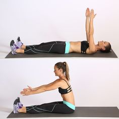 Begin on your back with your legs straight and arms raised toward the ceiling. Roll up to sitting, focusing...