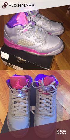 JORDAN 5 RETRO Pre-loved Cement Grey/Pink Retro Jordan 5s.  5 Girls = 6.5 women's Jordan Shoes Sneakers