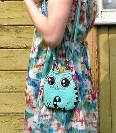 Small Cat Turquoise Leather Purse by krukrustudio on Etsy