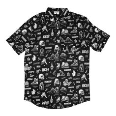 Vintage Horror Comix Button-Up Shirt - Creepy Co. Black Button Up Shirt, Mens Button Up, Button Up Shirts, Camisa Vintage, Boy Outfits, Cute Outfits, Cool Buttons, Vintage Horror, Vintage Shirts