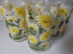 Vintage Daisy Glass Tumblers, Libbey Glassware, Drinking Glasses, Set of Four…