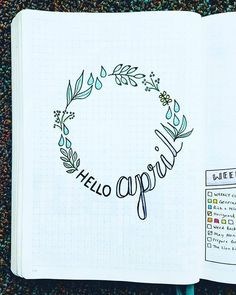 WEBSTA @ my_blue_sky_design - Hello April SpreadI'm so tickled with how this wreath turned out! I love the cute little subtle drops. Did you know is my favorite color by far?Hope your weekend was awesome! #bulletjournal #bujofrontpage #helloapril