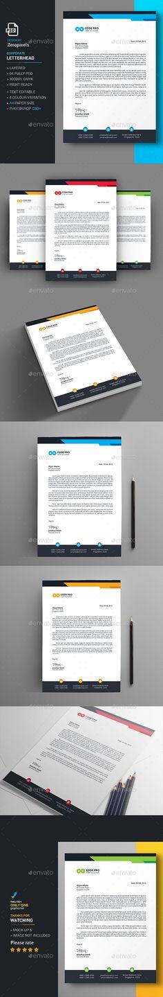 Letterhead Design Template - Stationery Print Template PSD. Download here: http://graphicriver.net/item/letterhead/16728356?s_rank=76&ref=yinkira