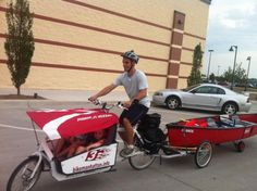 Cargo bike: Hauling 2 kids, groceries, and a canoe - I will be rigging one of these radio flyer canopies for my own bullitt.