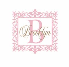 Name and Initial Vinyl Wall Decal Shabby Chic Border Personalized Monogram Wall Decal Girl Baby Nursery Girls Room Wall Art 22Hx22W FS240