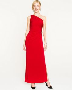 Knit One-shoulder Gown