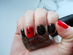 Harley Quinn inspired nails -- I think I'm going to do the opposite color scheme for Comic Con and Halloween ;)