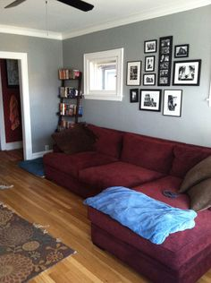 I am a visual person. Burgundy couch with grey walls doesn't look too bad.