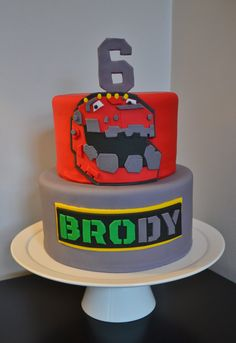 Cake Dimensions: round round Serving Size: 22 sensible servings Type: fondant over buttercream with fondant accents Event Location: Georgetown, DC 6th Birthday Parties, Third Birthday, Birthday Cake, Birthday Ideas, Dinotrux Cake, Elmo Party, Dinosaur Birthday, Cakes For Boys, Fancy Cakes
