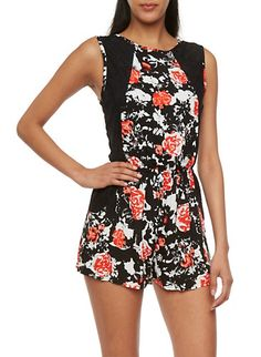 Abstract Print Romper with Lace Side Panels,RED