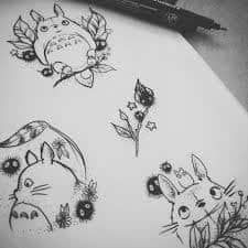 What does totoro tattoo mean? We have totoro tattoo ideas, designs, symbolism and we explain the meaning behind the tattoo. Anime Plus, Anime W, Anime Expo, Anime Tattoos, Body Art Tattoos, Tattoo Drawings, Small Tattoos, Tatoos, Anime Yugioh