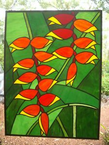 HELICONIA ROSTRATA Stained glass panel 600hx450w