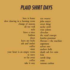 Plaid Shirt Days (Fall Playlist) - summer mens shirts, retro shirts, button down short sleeve shirts *ad Mood Songs, Music Mood, New Music, Indie Music, Music Quotes, Music Lyrics, Music Songs, Book Quotes, Fall Playlist