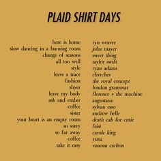 Plaid Shirt Days (Fall Playlist)