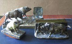 Wildschwein Skulpturen Schreibtisch-Garnitur Friedrich Gornik u.a.,Bronze, antik