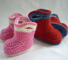Knitted Baby Cowboy/girl Booties
