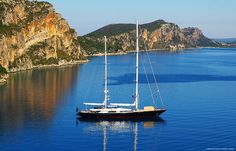 Sfaktiria A great photo of sfaktiria with a beautiful sailing ship #beach #greece #messinia