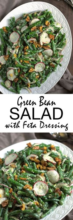 This salad with tangy feta dressing and crunchy walnuts is a delicious new twist on green beans! Simple, healthy, and vegetarian, it's a great way to fit more veggies into your diet.