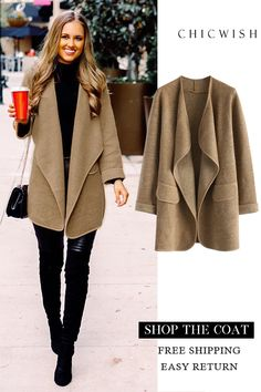 Like this coat; would it make me look bulky? Casual Work Outfits, Work Attire, Work Casual, Work Fashion, Unique Fashion, Fashion Outfits, Fashion Coat, Fall Winter Outfits, Autumn Winter Fashion