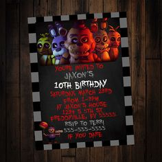 Check out this item in my Etsy shop https://www.etsy.com/listing/491407696/five-nights-at-freddys-invitation