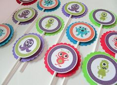 Cupcake Toppers: Cute Monster Cupcake Toppers - Baby Shower or Kids Birthday Party Decorations. $12.00, via Etsy.