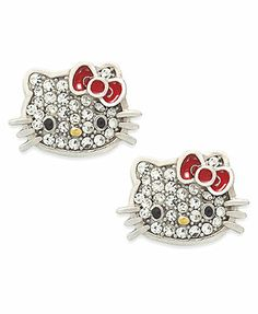 Hello Kitty Sterling Silver Earrings, Pave Crystal Face Stud Earrings