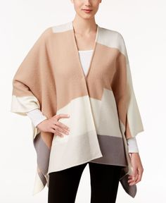 Alfani Colorblocked Wool Cape, Only at Macy's