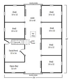 Barn Plan I imagine it in that black barn I have pinned on the same board, with a few door and window modifications Horse Farm Layout, Barn Layout, Barn Stalls, Horse Stalls, Rinder Stall, Horse Barn Plans, Horse Barn Decor, Horse Shelter, Goat Shelter
