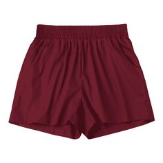 Casual High Waisted Shorts Wine Red S (120 NOK) ❤ liked on Polyvore featuring shorts, zaful, red highwaisted shorts, high rise shorts, red shorts, high waisted shorts and high-waisted shorts