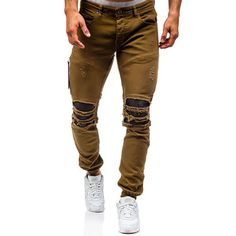 2017 Men'S Hi-street Biker Jeans Ripped Beggar Holes Skinny Jeans Elasticity Casual Male Cool Stretch Denim Joggers For Men Slim Fit Ripped Jeans, Distressed Skinny Jeans, High Jeans, Ripped Men, Tall Jeans, Denim Joggers, Jeans Denim, Jeans Pants, Brown Joggers