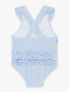 Maillot de bain 1 pièce à rayures bleues et blanches bébé fille Beach Kids, Bleu Marine, One Piece, Collection, Swimwear, Tops, Women, Fashion, Blue Stripes