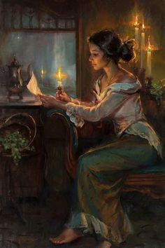 """He wasn't so good at writing love letters but she read his letters by her soul. He was her best writer "" 🎨 Artworks By Daniel Gerhartz Victorian Paintings, Victorian Art, Figure Painting, Painting & Drawing, Rennaissance Art, Classical Art, Aesthetic Art, Portrait Art, Figurative Art"